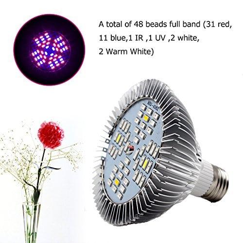Kyson Led Grow Lights Bulb Plant Lamp,48pcs SMD Full Spectrum Plant ...