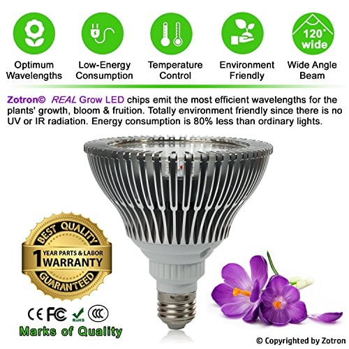 Zotron Led Grow Light 24w Newest 3rd Generation Growing Led Light Bulbs For Hydroponic Aquaponic Greenhouse Indoor Plants Herbs And Bonsai Trees Kush And Kind