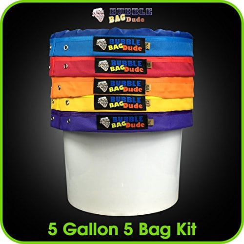 Bubblebagdude Bubble Bags 5 Gallon 5 Bag Set Herbal Ice Essence Extraction Bag Kit With 10 X 10 25 Micron Pressing Screen And Storage Bag Kush And Kind